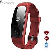 Hangang Fitness Tracker HR, Letsfit Activity Tracker Uhr mit Pulsmesser, IP67 wasserdicht Schrittzähler, Kalorien und Schrittzähler Uhr für Android & iOS (RED)