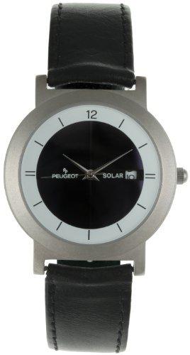 Peugeot 590 Men's Black Leather Solar Watch