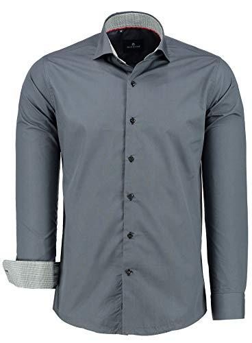 BARBONS Outlet Herren Hemd Slim FIT - Langarm - Premium Bügelleicht Hemden für Business, Freizeit, Hochzeit, Party für Männer - Grau/Schwarz-Weiß Karokragen S