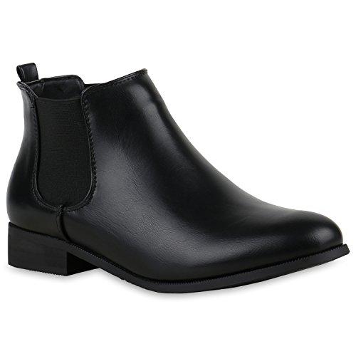 Chelsea Boots Damen Holzoptikabsatz Stiefeletten Lederoptik Schwarz