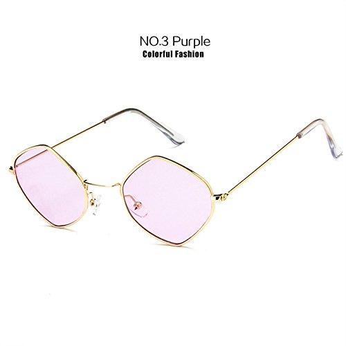 FBNSJA Rhombische Metallrahmen Sonnenbrille Small-Frame Vintage Sonnenbrille Ocean Blue Pink Clear Sunglass Für Frauen Retro BrilleLila