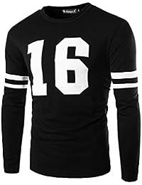 Sourcingmap Allegra K Men Stripe Color Block Letters Print Crewneck Long Sleeves T-Shirt