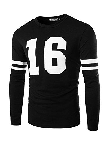 Allegra K Allegra K Männer Streifen Detail Langarm Rundhals T-Shirt mit Aufdruck Schwarz