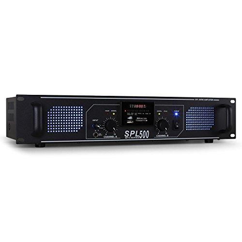 Skytec SPL-500 Amplificador PA (2 x 250W potencia, USB, SD, Radio FM,...