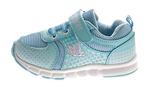 Kinder Sneaker Mädchen Halb Schuhe Aufdruck Klettverschluss Blau Lila Turnschuhe Gr. 25 - 31 Blau