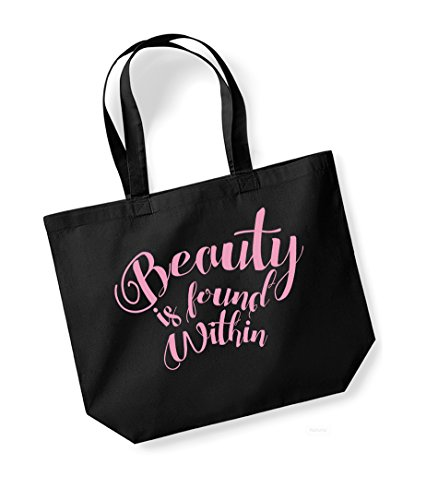 Beauty is Found Within - Large Canvas Fun Slogan Tote Bag (Black/Pink) - Bella Print Tote