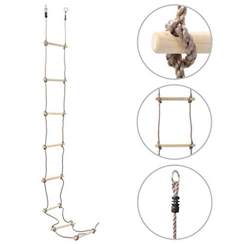 Tidyard Escalera de Cuerda para niños niños con peldaños de Madera Ideal para Escalada, árbol, casa de Juegos 290 cm Madera