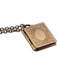 Bold N Elegant Vintage Carved Cute Small Book Locket Pendant Necklace Openable Photo Momento Locket