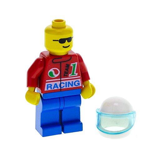 1 x Lego System Figur Mann Classic Town Race Torso rot Racing Team 1 Octan Logo Beine blau Sonnenbrille Motorrad Helm weiss oct028