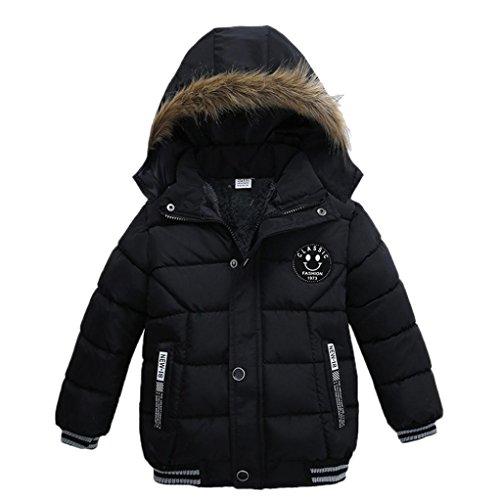 OVERDOSE Baby Jungen Warm Baumwolle Steppjacke Kapuze Jacke Daunenjacke Starker Padded Winter Mantel Kleidung (1-2T/90CM, A-Black) Baby Winter Jacke