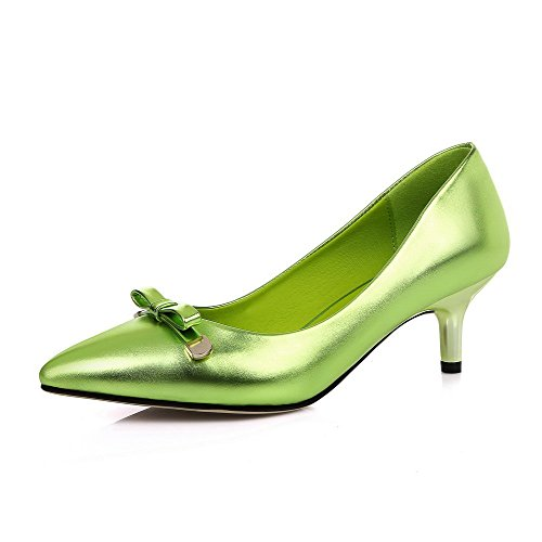 VogueZone009 Femme Pu Cuir Couleur Unie Tire Pointu à Talon Correct Chaussures Légeres Vert
