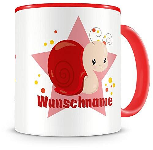 Samunshi Kinder-Tasse mit Namen und süßer Schnecke als Motiv Bild Kaffeetasse Teetasse Becher...