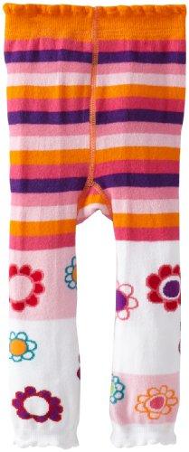 Jefferies Socks Baby Girls' Flower Frenzy Footless Tights, White, 6 18 Months