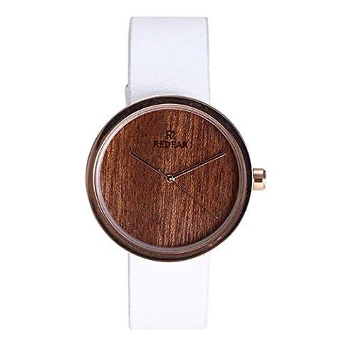 yahe Holz Armbanduhr Frauen Holz Analog Zifferblatt Lederband Travel Kleid Datum Quarz-Uhr (Multi)