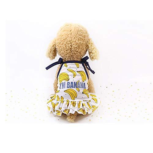 display08 Nettes Bananen-Druck-Hundehaustier-Kleid-atmungsaktives Sommer-Verband-gekräuselte Weste-Kleid Für Kleines Mittleres Großes Entzückendes Kleid* XS