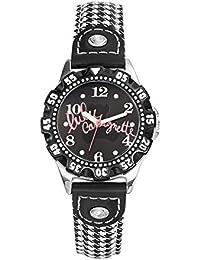 Lulu Castagnette - 38754 - Montre Fille - Quartz Analogique - Cadran Noir - Bracelet Cuir Bicolore
