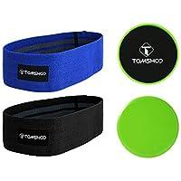 TOMSHOO Hip Band Exercise + Gleitscheiben, Sliding Pad schieben Tablett Set Fitnessbänder Set für Bein- und Po-Training