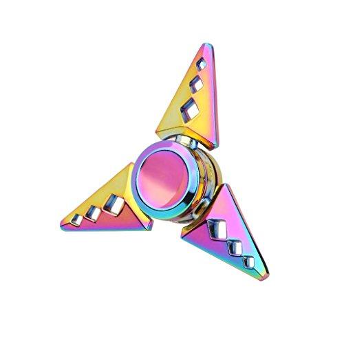 Preisvergleich Produktbild Saingace Regenbogen Aluminium Metall Tri Hand Finger Spinner Fidget EDC Schreibtisch Spielzeug Gyro