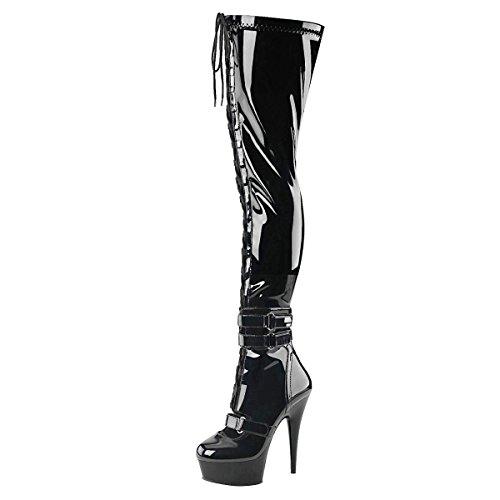 Overknee Stiefel, Damen, Schwarz (schwarz) Schwarz (Schwarz)