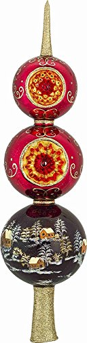Joy to the World Metzler Brothers Red Russian Finial Polish Glass Christmas Tree Topper 14 Inch -