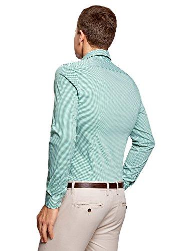 oodji Ultra Herren Hemd Extra Slim Fit mit Feinem Karomuster Grün (6210C)