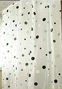 Generic Spots Transparent EVA Rideau de douche 180 x 220 cm, Black / Blanc