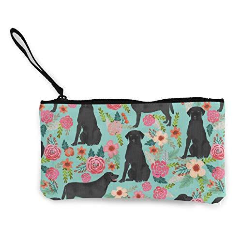 Black Lab Florals Labrador Retriever Floral Multifunctional Portable Canvas Coin Purse Phone Pouch Cosmetic Bag,Zippered Wristlets Bag