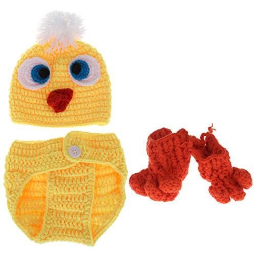 Xurgm 1 Satz Baby Kostüm Hut Hosen Socken Gestrickte Wollene Neugeborene Fotografie Lustige Gelbe Ente Nette Cosplay Kleidung Requisiten Kappe Beanie Häkeln Foto Schuss -
