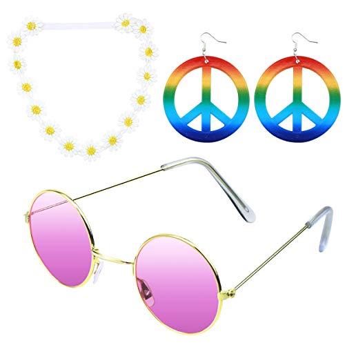 Vascinate 3 Stück Hippie Kostüm Set Blume Hippie Damen Hippie Blume Stirnband, Ohrringe, Brille Multicolor Peace Medaillon Set 60er Jahre 70er Jahre Damen Kostümzubehör