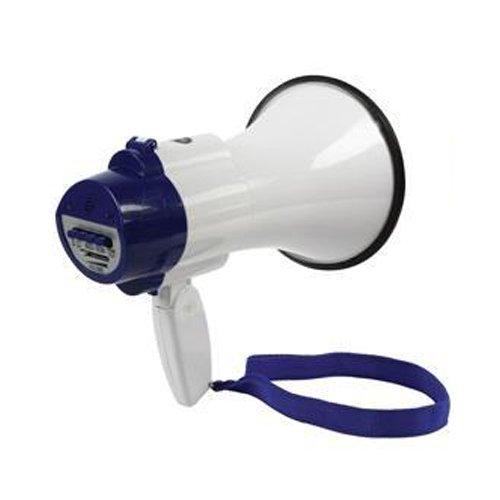Megafon, 10W, Pistolengriff, Lautsprecher, Sirene, mit Aufnahme und Musik, blau