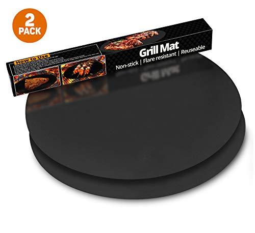 ThreadNanny Runde Grillmatte, 100% antihaftbeschichtete Grillmatten (2 Stück), Grill- und Grillzubehör für Ofen, Mikrowelle, Elektrokohle, Gasgrill -