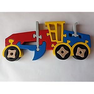 Holzpuzzle Grader handarbeit Grader Konstruktionen Maschine massiven Buchenholz Spielzeug Nutzfahrzeug Geschenk für…