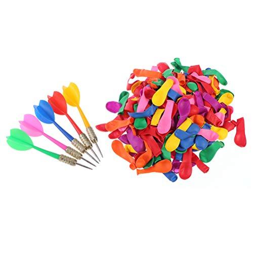 Toyvian Spiele Dart Luftballons 500 Stücke Weihnachten Ballons Wasserballons mit 10 Stücke Darts für Party Supplies (10 stücke Zufällige Farbe Metall Darts, 500 stücke Ballon) (Ziel Party Supplies)