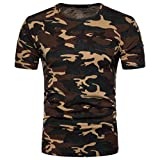 Gaddrt Herren Casual Camouflage Print Kurzarm T-Shirt Top Bluse, gelb, Large
