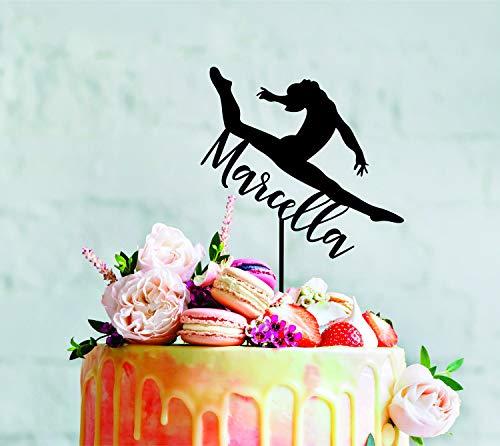 ast Gym Gymnastik Holz Custom Name Alter Acryl Dino Personalisierte Dekoration Kuchen Topper für Hochzeit Hochzeit Party Gastgeschenke Kuchen Toppers ()