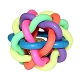 Hundespielzeug | Katzenspielzeug | Bunter Knotenball | aus Gummi | mit Glöckchen | zum Spielen und Austoben (S)