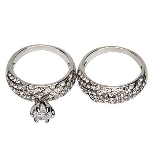 JOMSK 1 Pair/Set Frau Fingerring Finger Schmücken Hochzeit Fingerring mit Kristall Anhänger Geschenk für Mutter Tochter Schwester Freundin,7*