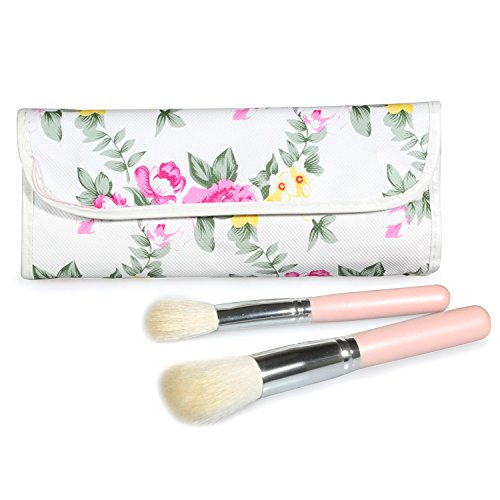 Lychee Makeup Brushes 12 Pieces Professional Makeup Brushes with Floral Case Eyeliner Face Blush Contour Foundation Cosmetic Brushes for Liquid Cream Powder