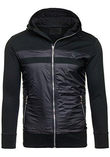 BOLF – Sweat-shirt á capuche – Fermeture éclair – J. STYLE 2091 – Homme Noir