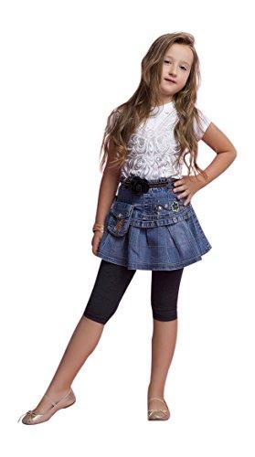 Madchen Zugeschnitten Kinder 3/4 Baumwolle Leggings Basic Einfarbig Kids Capri Hose -