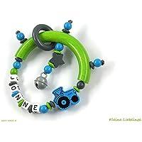 Greifling Greifring Traktor Trecker Stern mit Namen 3 - 7 Buchstaben - grün dunkelgrau blau für Jungen - Rassel Glöckchen