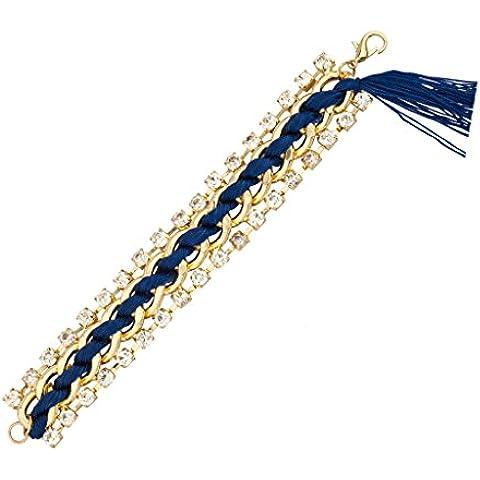 Lux accessori blu Fringe Woven Braccialetto Dichiarazione con catena