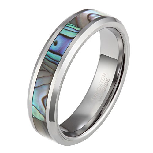 Wolframcarbid Damen Herren Ringe Abalone Muschel Design (Herren Silber-wolfram-ringe)