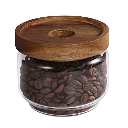 77L Glass Storage Jar, 262 ML (8.85 FL OZ), Glass Storage Jar mit abgestelltem Holzlid-Portable Clear Food Storage Jar für Serving Candy, Snack, Honig und mehr (Die Candy Jar)