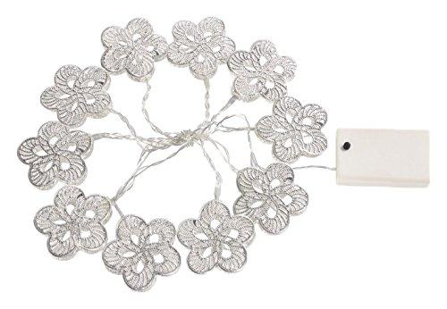 Gardman Batteriebetriebene LED Lichterkette mit 10 silbrigen Blüten, Plastik, silber 18582