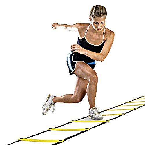 efanr Agility Leiter Speed Langlebige Training Ausrüstung Speed Fitness Equipment flach PP Teller und Gewebte Gürtel, 8 round -