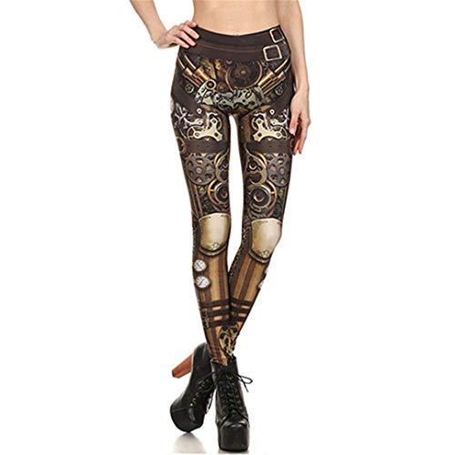 Laisla fashion Moda para Mujer Steampunk Cintura Alta Mecánica Impresión Clásico 3D Cosplay Leggings Pantalones De Cintura Alta Pantalones De Lápiz Mujeres (Color : Kdk1625, Size : 3XL)