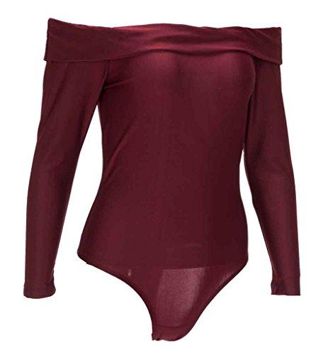 Smile YKK Femme Cou Horizontal Sexy Couleur Pure Jumpsuit à Manche Longue Bordeaux