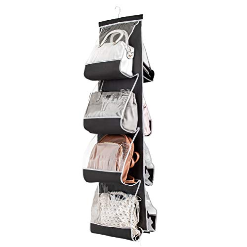 E-CHENG Hanging Purse Organizer for Closet Clear Handbag Organizer for Purses, Handbags Etc. 8 Easy Access Clear Vinyl Pockets with 360 Degree Swivel Hook, Black, 48