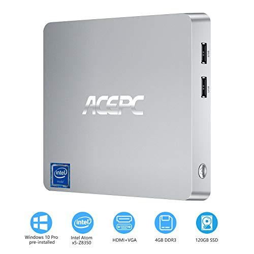 ACEPC T11 Mini-PC Windows 10 Pro, 4GB DDR3/ 64GB eMMC/ 120GB SSD Intel Atom x5-Z8350 Lüfterloser Mini-Computer, Unterstützung von 4K HD, 2.4/ 5G WLAN, Gigabit Ethernet, HDMI/VGA Ausgang